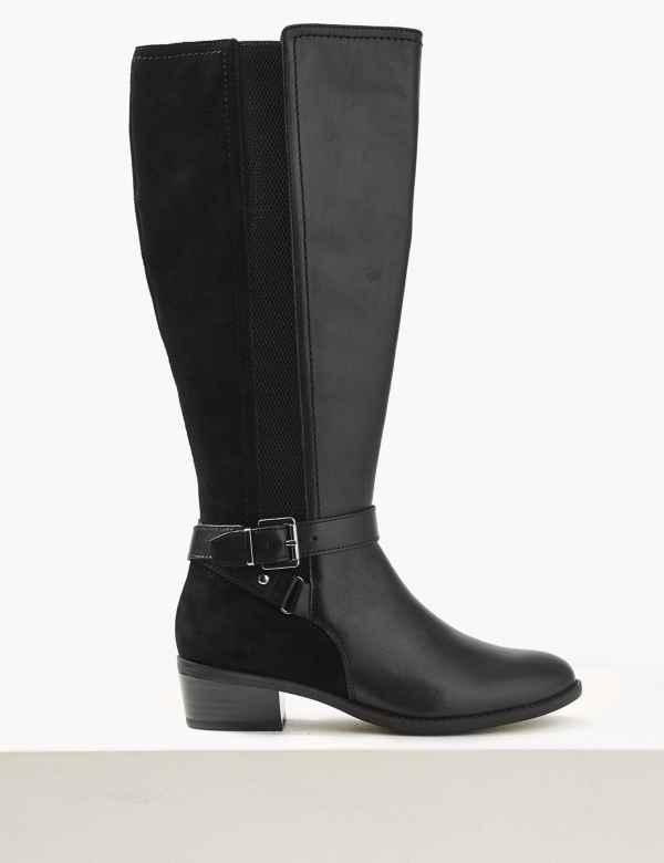 cea1e734f Leather Block Heel Strap Knee Boots