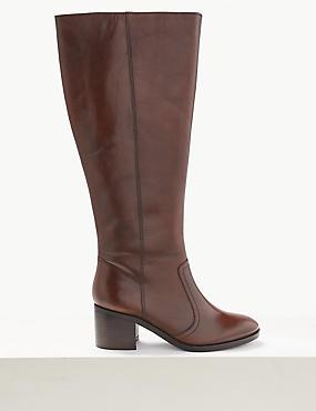 Leather Block Heel Knee Boots