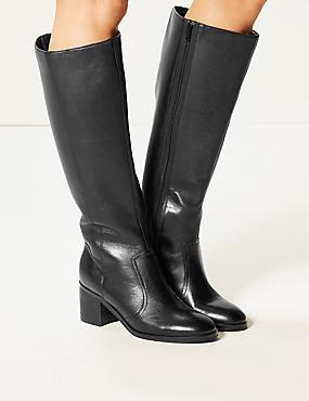 Leather Block Heel Side Zip Knee Boots