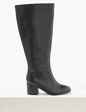 Leather Block Heel Side Zip Knee Boots