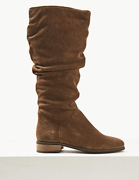 Suede Block Heel Side Zip Knee Boots