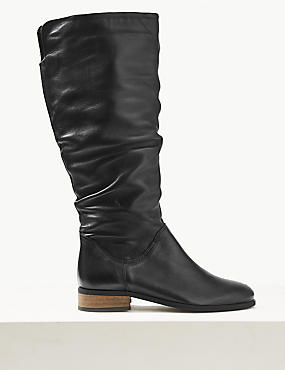 Leather Block Heel Ruched Knee Boots