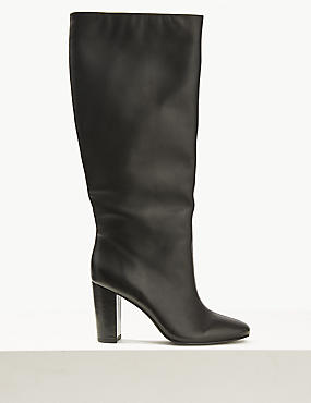 Leather Block Heel Knee Boots
