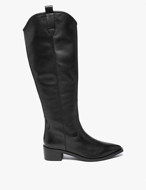 Leather Western Knee High Boots