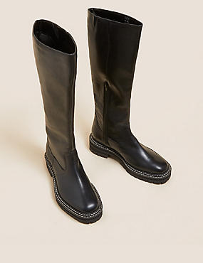 Leather Chunky Knee High Boots