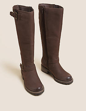 Wide Fit Leather Chunky Knee High Boots