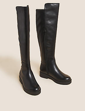 Wide Fit Leather Over the Knee Boots