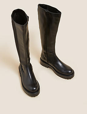 Ψηλές δερμάτινες μπότες Chelsea μέχρι το γόνατο με χοντρή σόλα