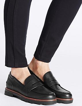 Wide Fit Cleat Sole Loafers, BLACK, catlanding