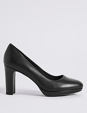 Wide Fit Leather Block Heel Court Shoes