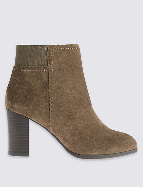 Wide Fit Suede Block Heel Ankle Boots