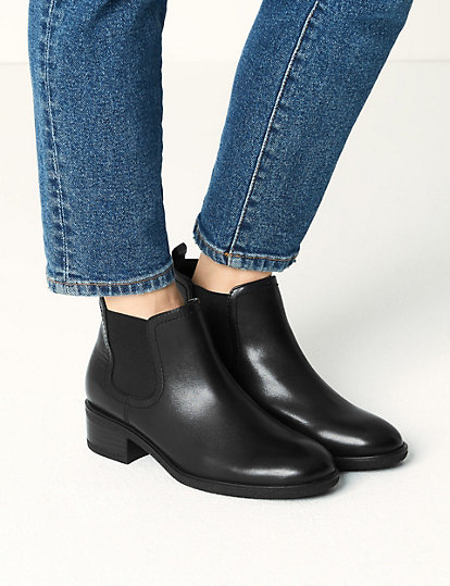 huge inventory free shipping low priced Wide Fit Leather Chelsea Ankle Boots | Boots | Marks and Spencer HK