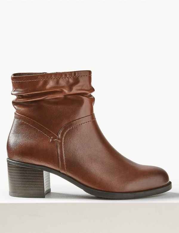 fe1c37542da2 Wide Fit Leather Ruched Ankle Boots