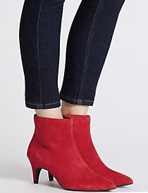 Wide Fit Suede Kitten Ankle Boots