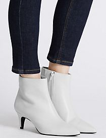 Wide Fit Leather Kitten Ankle Boots