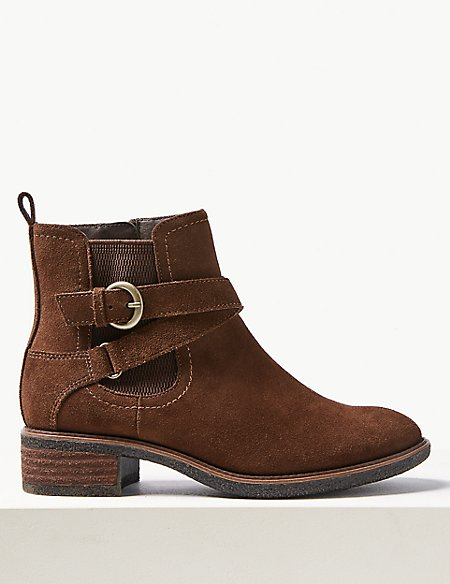 Suede Wide Fit Block Heel Ankle Boots
