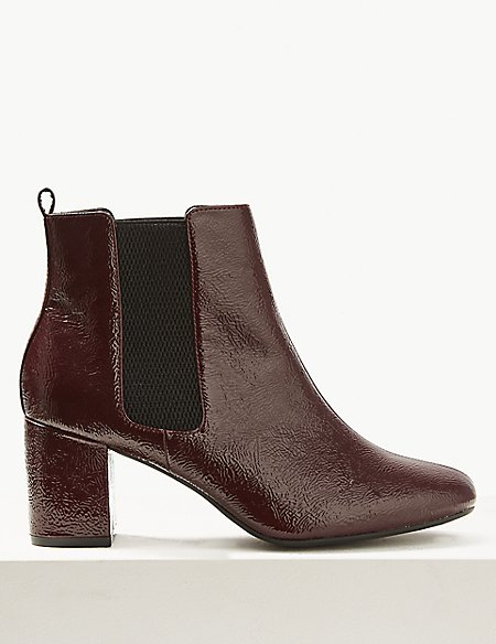 Wide Fit Patent Leather Chelsea Ankle Boots