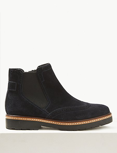 Wide Fit Suede Brogue Ankle Boots