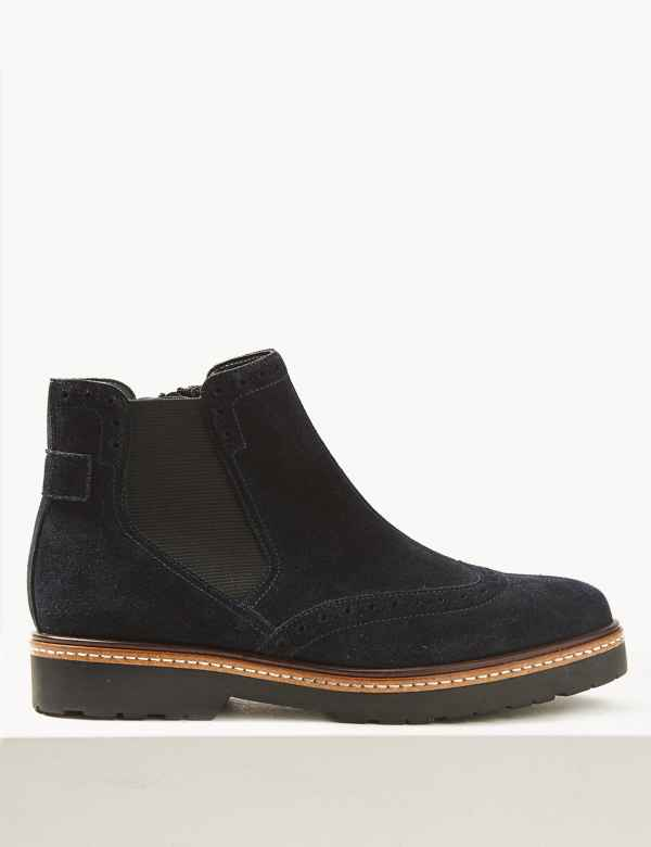 0f31f08d8e6b Wide Fit Suede Brogue Ankle Boots