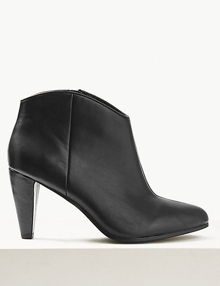 Wide Fit Leather Ankle Boots