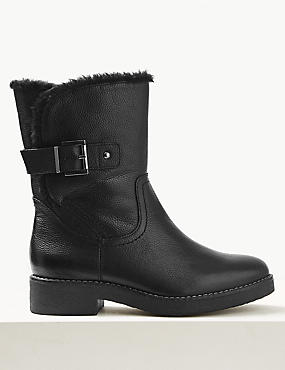 Wide Fit Leather Faux Fur Cuff Ankle Boots