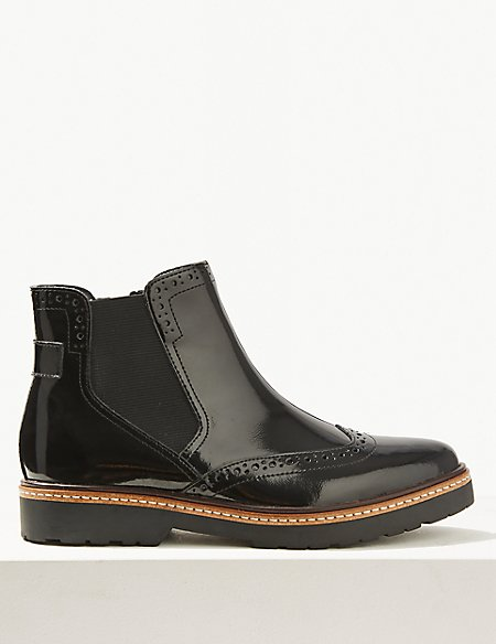 Leather Wide Fit Chelsea Brogues