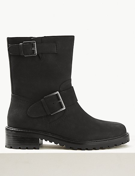 Wide Fit Biker Ankle Boots