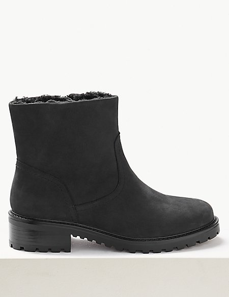 Wide Fit Leather Biker Ankle Boots