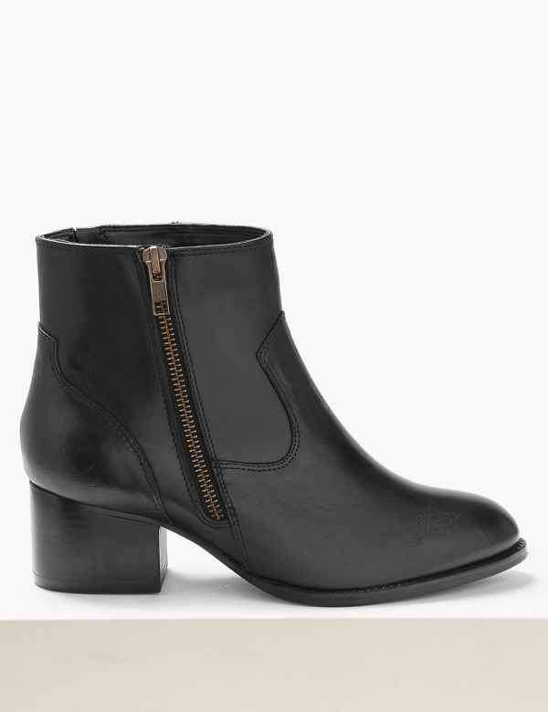 c3a2691677 Wide Fit Leather Block Heel Ankle Boots