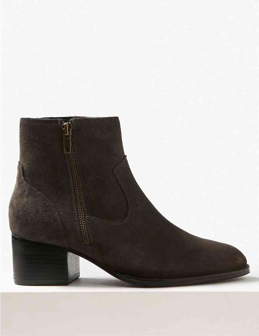 73b52d5b8be Wide Fit Suede Block Heel Ankle Boots