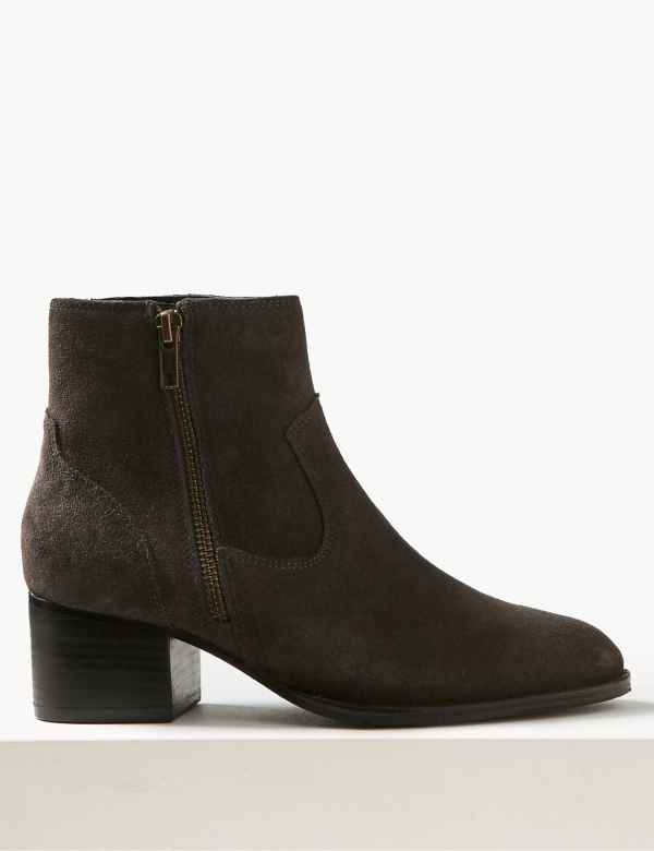 ebc556e6ef2d Wide Fit Suede Block Heel Ankle Boots