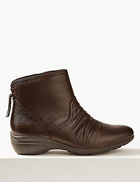 Wide Fit Leather Wedge Heel Ankle boots