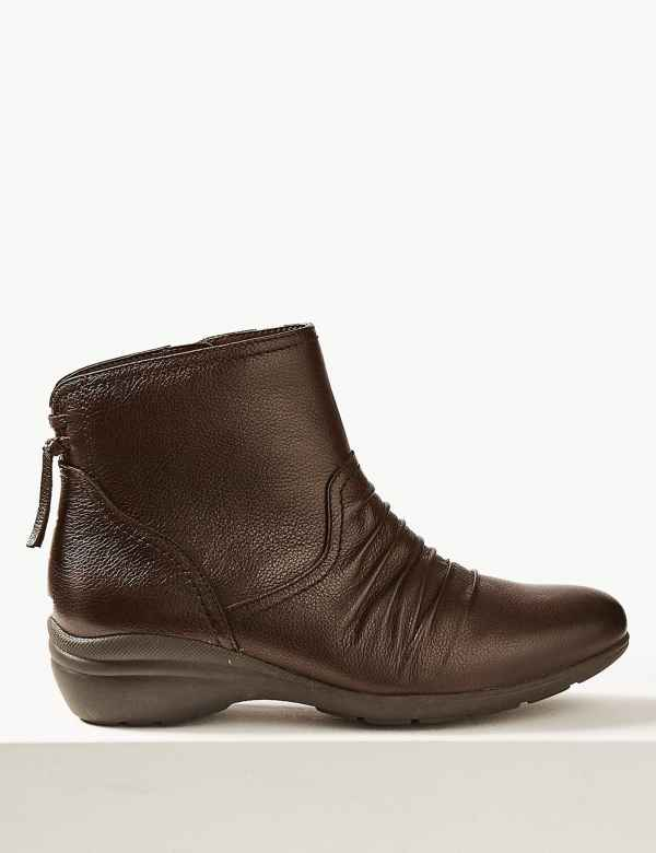 af5c93c5e01 Wide Fit Leather Wedge Heel Ankle Boots