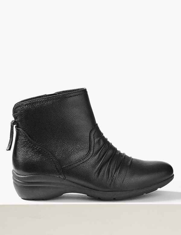 15103b0afc Wide Fit Leather Wedge Heel Ankle Boots