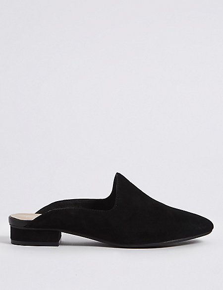 Wide Fit Suede Block Heel Mule Shoes
