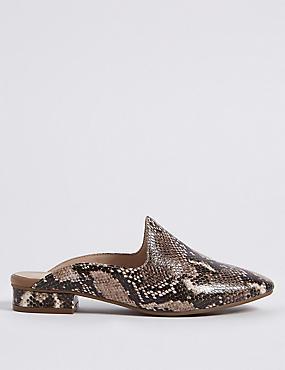 Wide Fit Leather Block Heel Mule Shoes