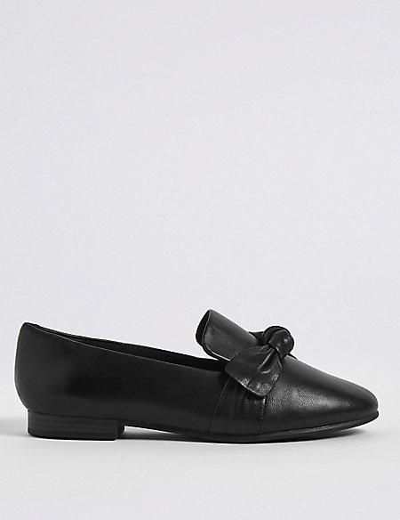 Wide Fit Leather Knot Pumps