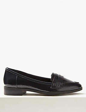 Wide Fit Leather Block Heel Loafers