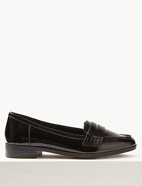 Wide Fit Leather Patent Loafers