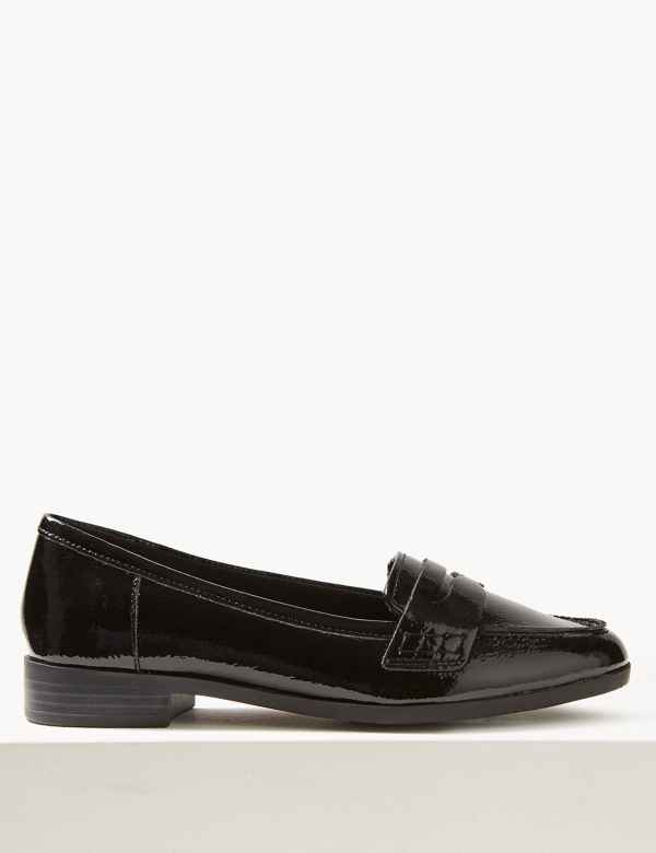 82e4de542b8 Wide Fit Leather Patent Loafers