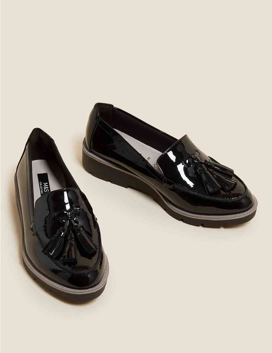 8c788a66349 Wide Fit Leather Tassel Loafers