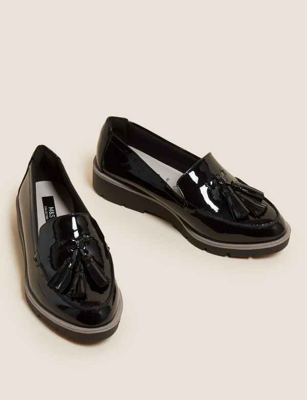 734bf6f3476 Wide Fit Leather Tassel Loafers