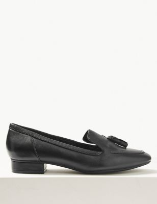 Wide Fit Leather Block Heel Tassel Loafers by Marks & Spencer