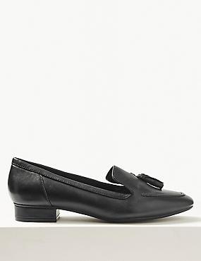 Wide Fit Leather Block Heel Tassel Loafers