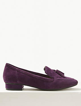 Wide Fit Suede Block Heel Tassle Loafers