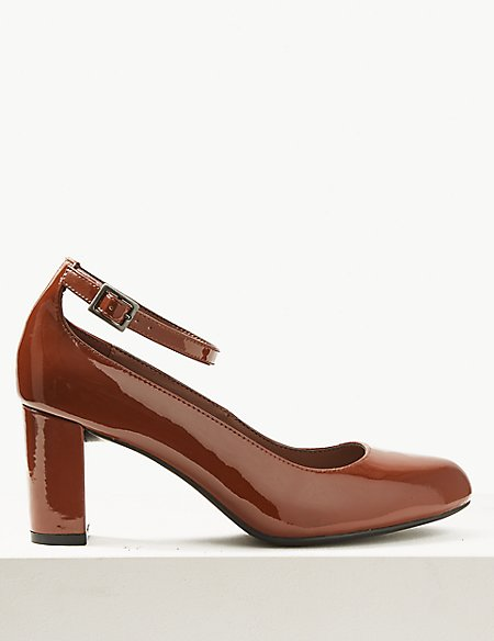 Wide Fit Ankle Strap Block Heel Court Shoes