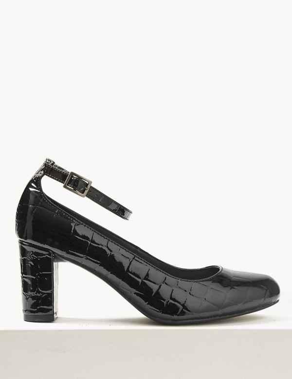 41ea12809e Wide Fit Ankle Strap Block Heel Court Shoes