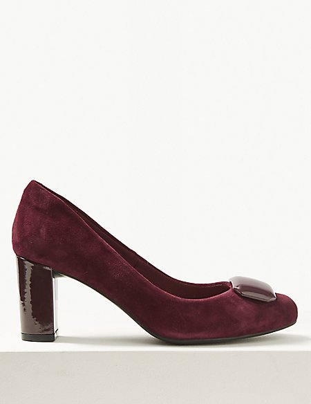 Suede Wide Fit Block Heel Court Shoes