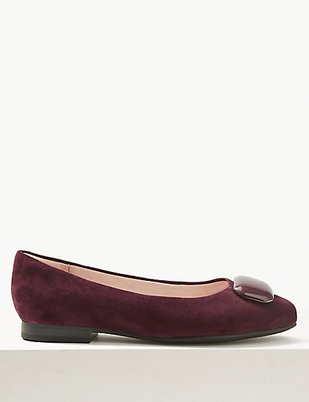 Wide Fit Suede Ballet Pump Shoes