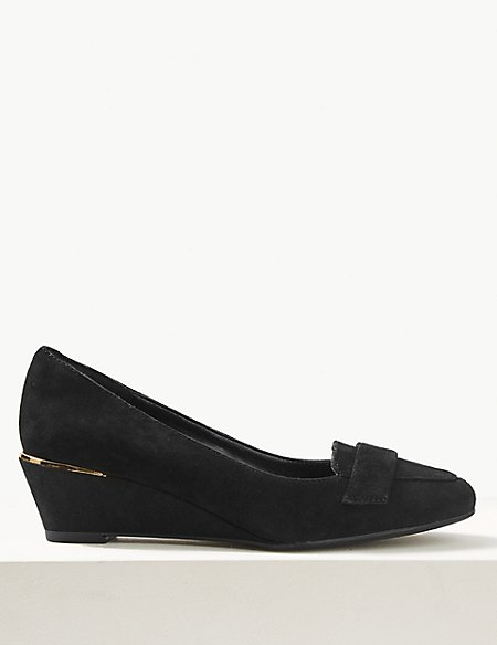 Wide Fit Suede Wedge Heel Court Shoes
